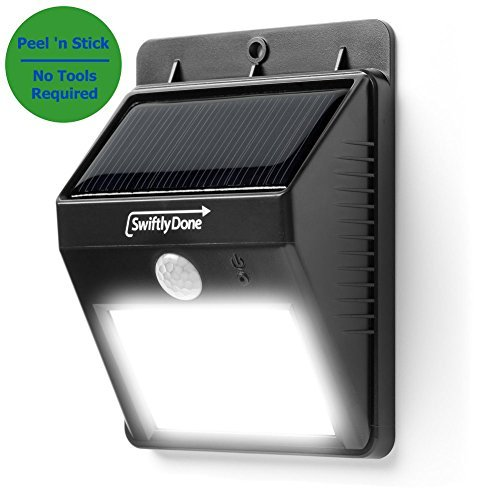 Swiftly-Done8482-Bright-Outdoor-LED-Light-Solar-Energy-Powered-Weatherproof-No-Tools-Required-Peel-n-Stick-Motion-Sensor-Detector-Activated-For-Patio-Deck-Yard-Garden-Home-Driveway-B00EGFKOZ6