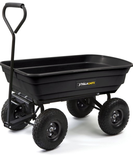 Gorilla-Carts-GOR200B-Poly-Garden-Dump-Cart-with-Steel-Frame-and-10-Inch-Pneumatic-Tires-600-Pound-Capacity-36-Inch-by-20-Inch-Bed-Black-Finish-B0026RGNJ2