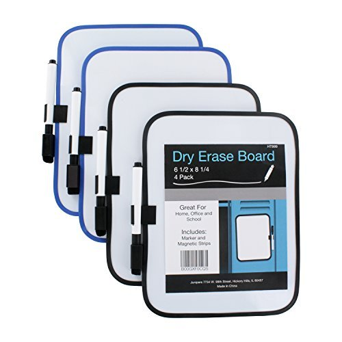 Junipers-Dry-Erase-6-12-x-8-14-Whiteboard-with-Marker-and-Magnet-Strips-Assorted-Colors-Pack-of-4-B00GXF0CQS