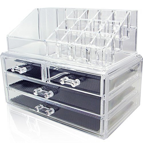 NILECORP-Acrylic-Jewelry-Cosmetic-Storage-Display-Boxes-Two-Pieces-Set-B00DUJEWDE
