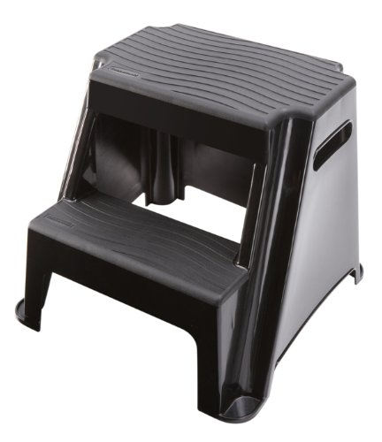 Rubbermaid-RM-P2-2-Step-Molded-Plastic-Stool-with-Non-Slip-Step-Treads-300-Pound-Capacity-Black-Finish-B004Q0I2RS