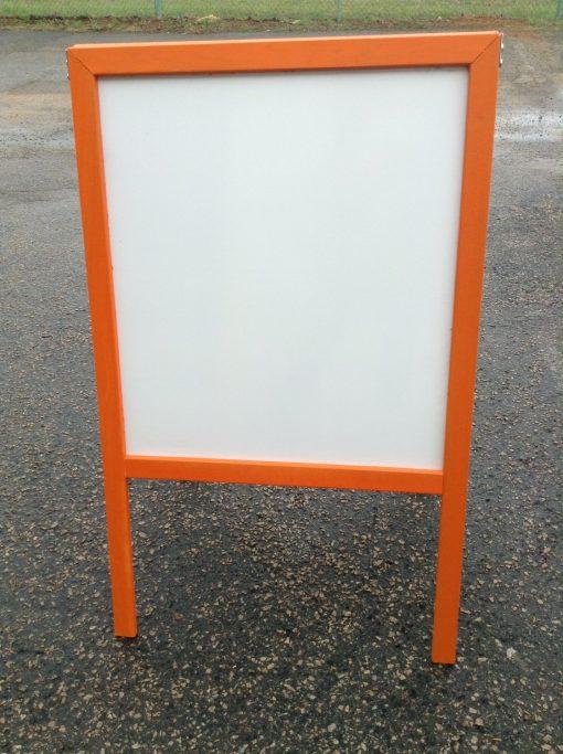 Sidewalk-Display-Sign-Easel-39-X-24-White-Dry-Erase-Board-Bright-Orange-Hardwood-Frame-B00UO1RZWG