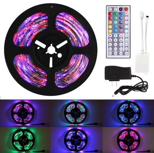 Techno-Earth-164-Feet-5M-5-Meter-SMD-RGB-Waterproof-IP65-LED-Strip-light-300-44-Key-Remote-12V-Supply-Power-B00ZPMZWOW