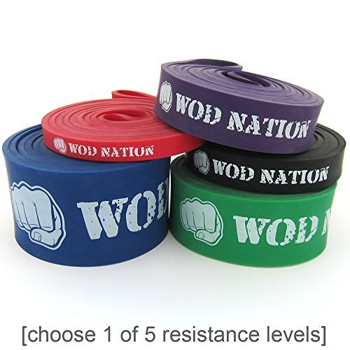WOD-Nation-Resistance-Bands-Exercise-Band-Perfect-for-Assisted-Pull-Up-Muscle-Ups-Chin-Up-Assist-Mobility-Work-and-Ring-Dips-in-Crossfit-Training-Choose-1-of-5-Strength-Levels-B00P7IND0Y